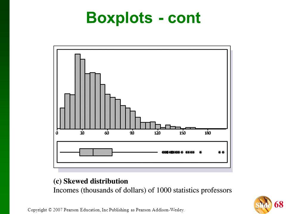 Slide Slide 68 Copyright © 2007 Pearson Education, Inc Publishing as Pearson Addison-Wesley. Boxplots - cont