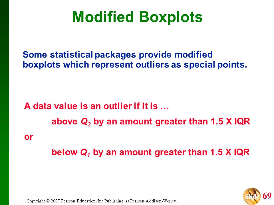Slide Slide 69 Copyright © 2007 Pearson Education, Inc Publishing as Pearson Addison-Wesley. Modified Boxplots Some statistical packages provide modif
