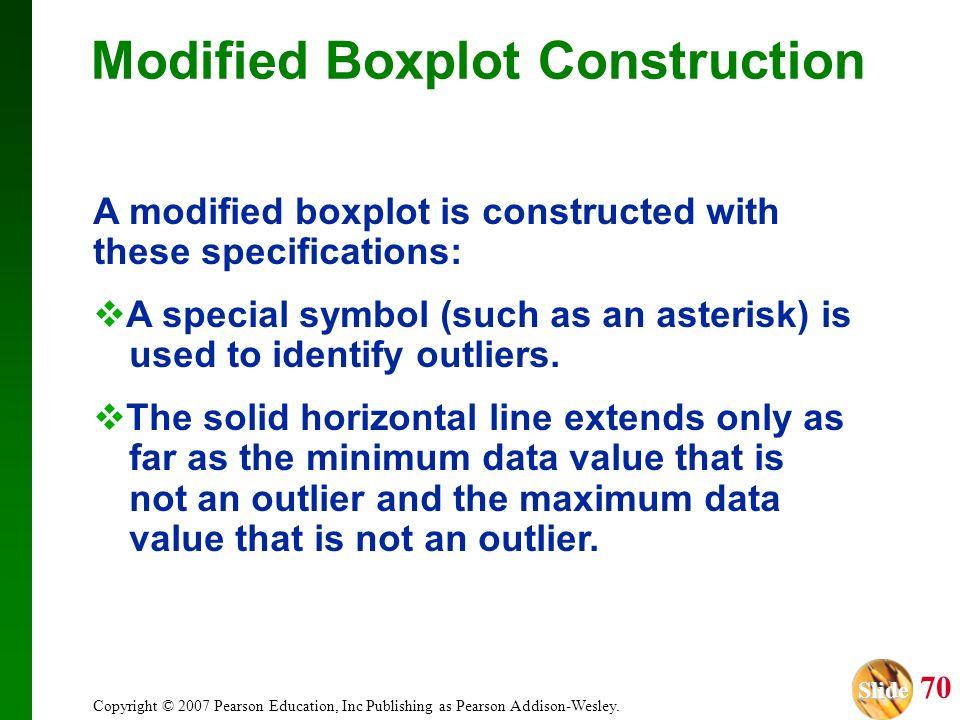 Slide Slide 70 Copyright © 2007 Pearson Education, Inc Publishing as Pearson Addison-Wesley. Modified Boxplot Construction A modified boxplot is const