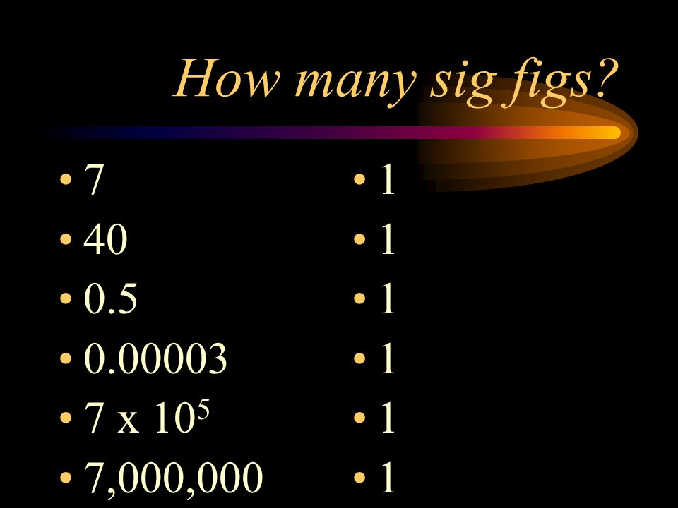 How many sig figs? 7 40 0.5 0.00003 7 x 10 5 7,000,000 1 1 1 1 1 1