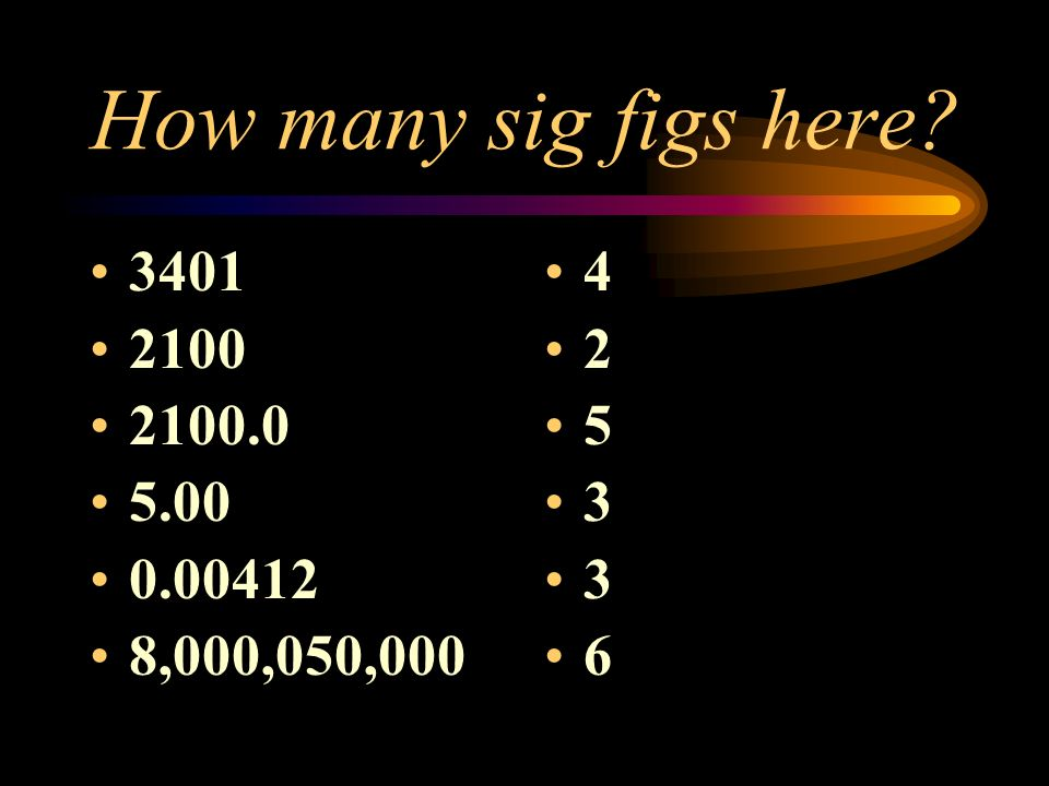 How many sig figs here? 3401 2100 2100.0 5.00 0.00412 8,000,050,000 4 2 5 3 3 6