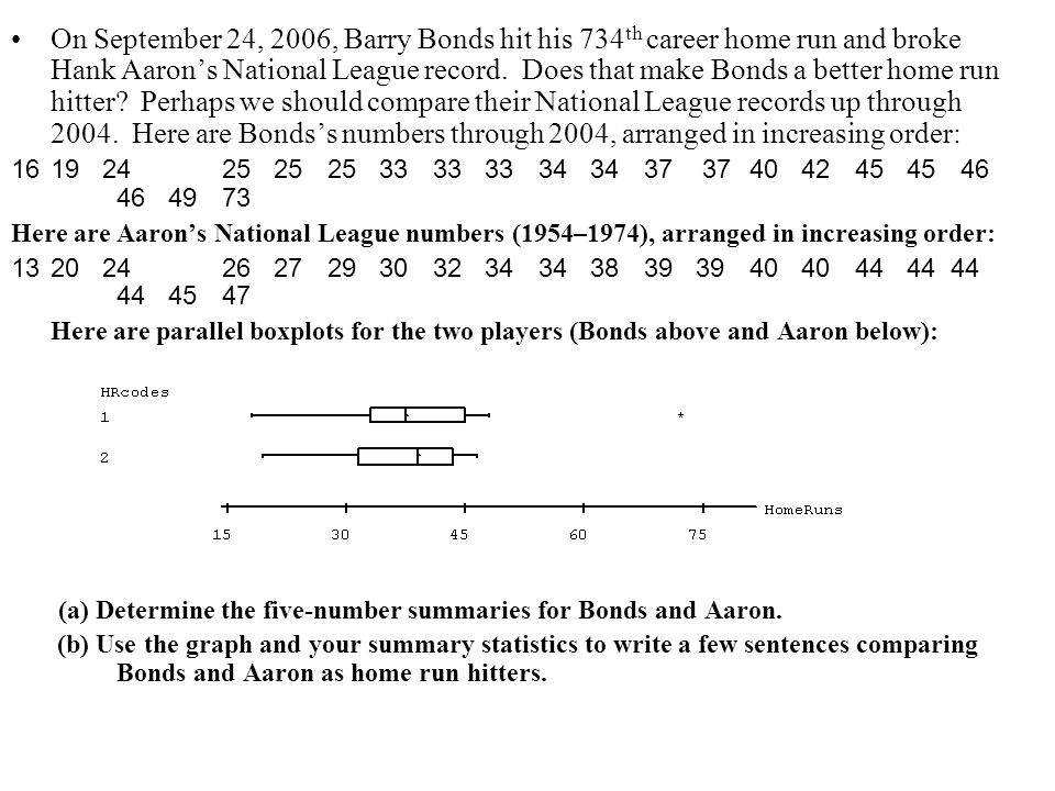 On September 24, 2006, Barry Bonds hit his 734 th career home run and broke Hank Aarons National League record. Does that make Bonds a better home run