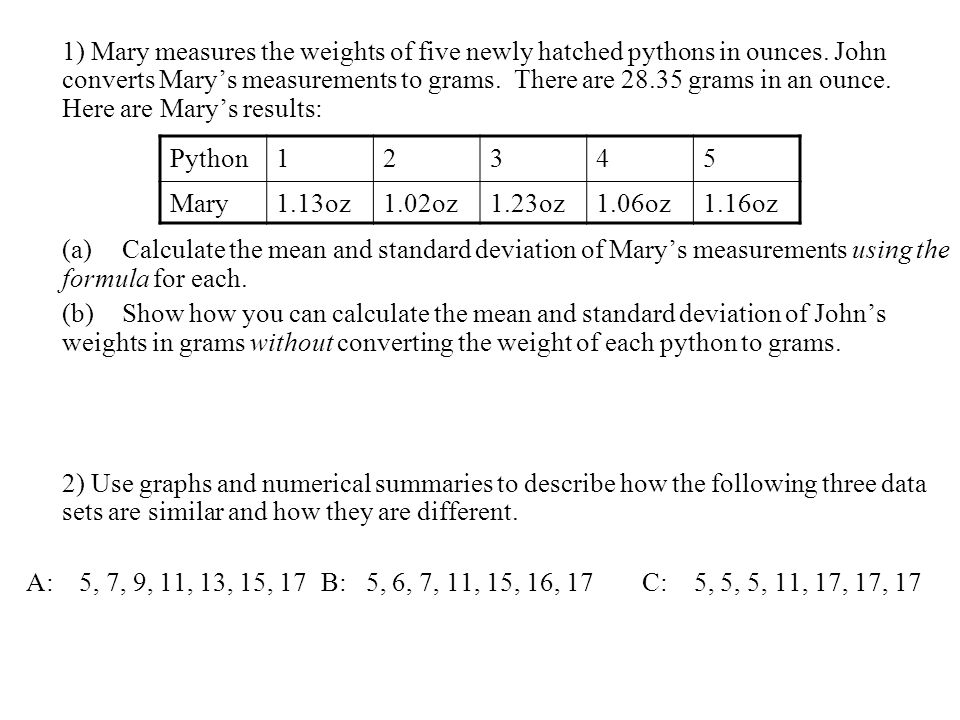 1) Mary measures the weights of five newly hatched pythons in ounces. John converts Marys measurements to grams. There are 28.35 grams in an ounce. He