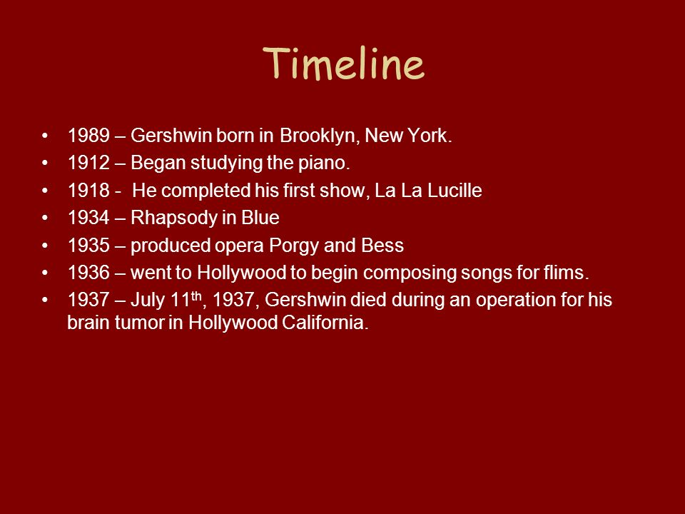 Timeline 1989 – Gershwin born in Brooklyn, New York.