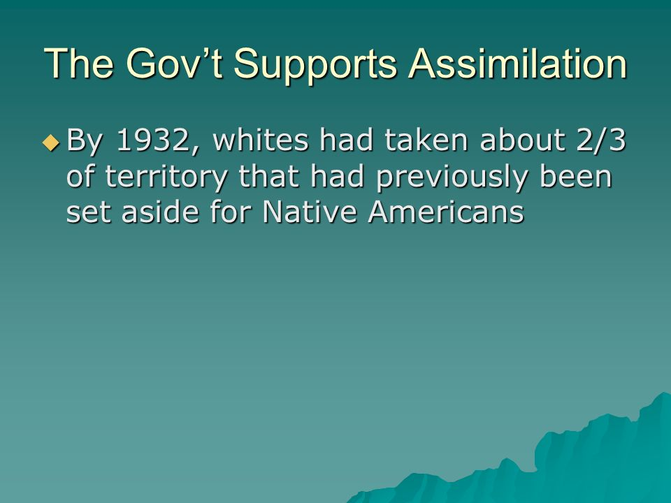 The Govt Supports Assimilation By 1932, whites had taken about 2/3 of territory that had previously been set aside for Native Americans By 1932, white