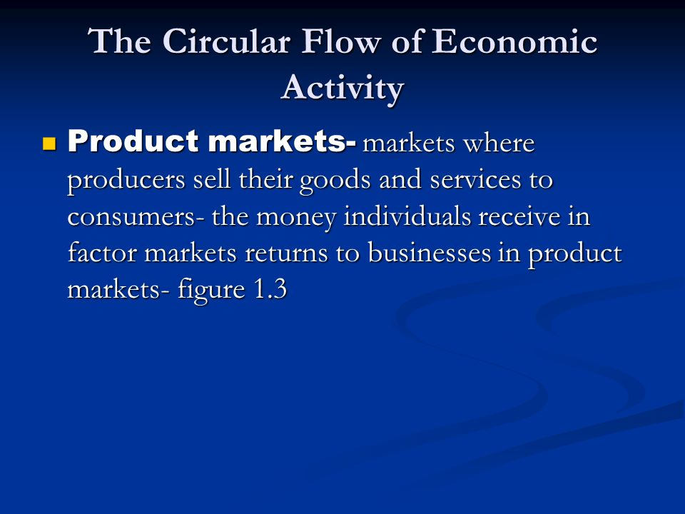 The Circular Flow of Economic Activity Product markets- markets where producers sell their goods and services to consumers- the money individuals rece