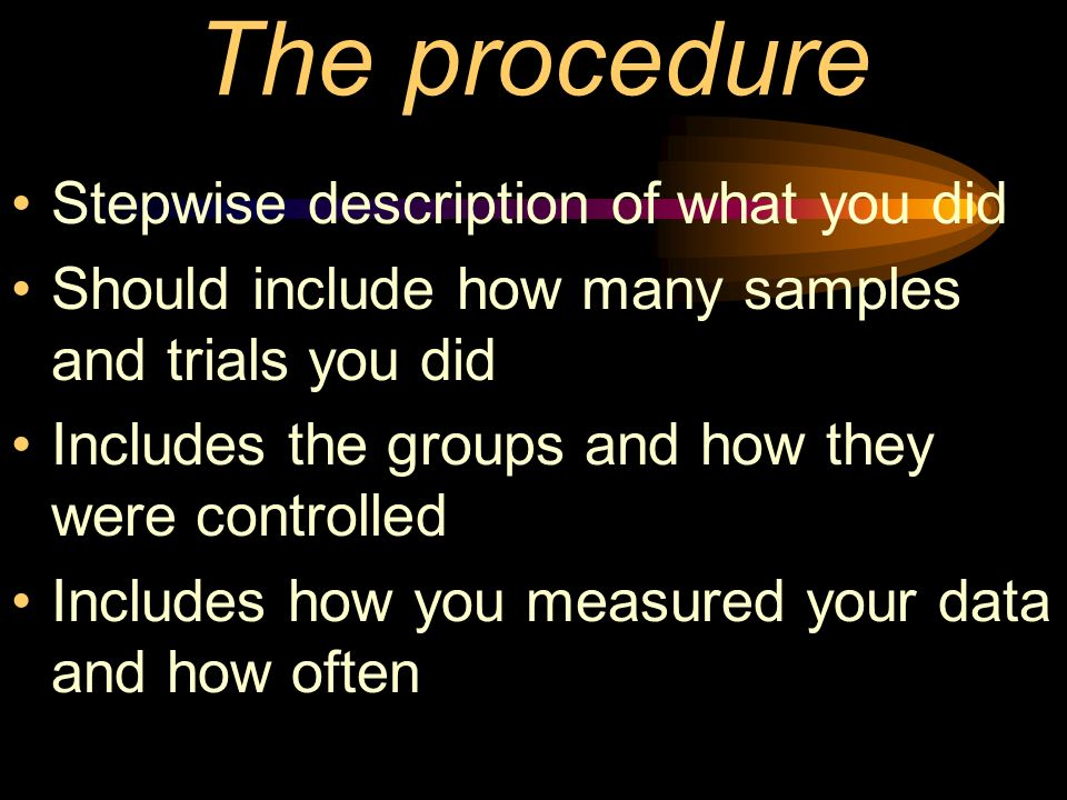 The procedure Stepwise description of what you did Should include how many samples and trials you did Includes the groups and how they were controlled Includes how you measured your data and how often