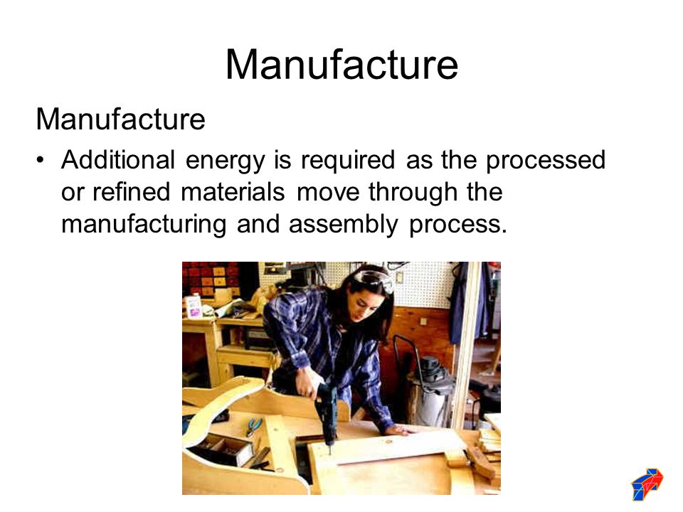 Manufacture Additional energy is required as the processed or refined materials move through the manufacturing and assembly process.