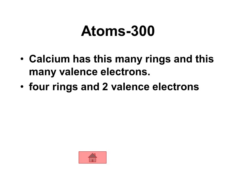 Atoms-300 Calcium has this many rings and this many valence electrons.