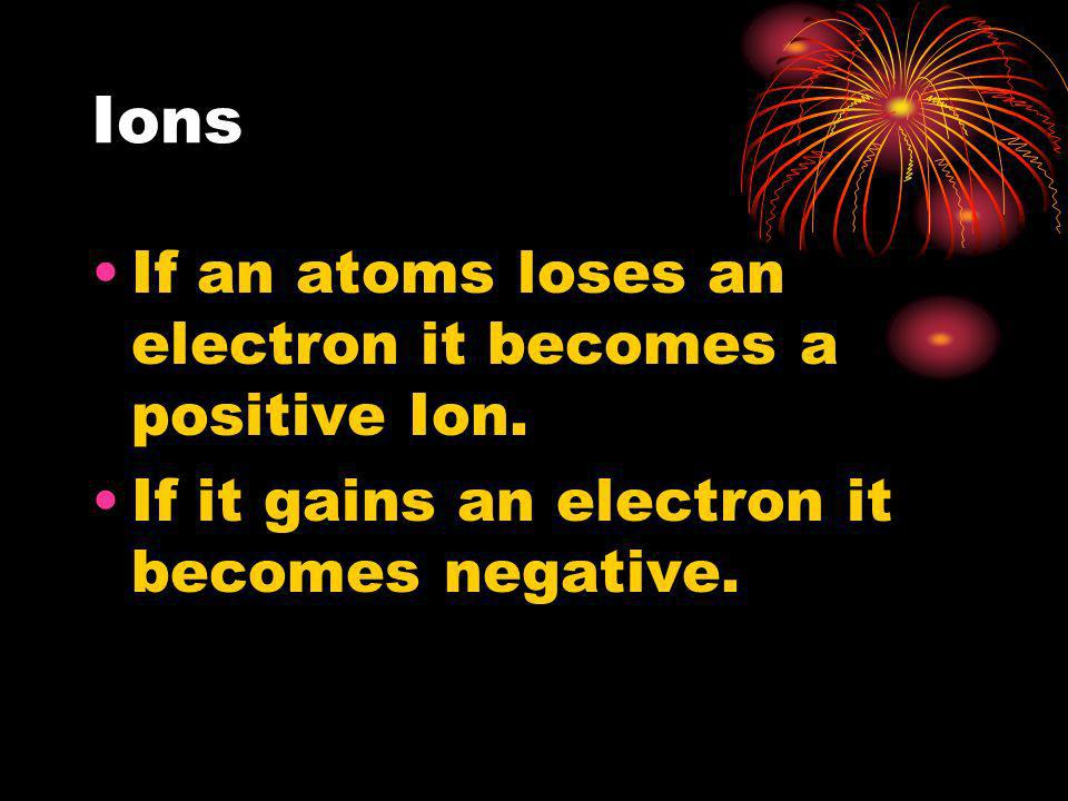 Ions If an atoms loses an electron it becomes a positive Ion. If it gains an electron it becomes negative.