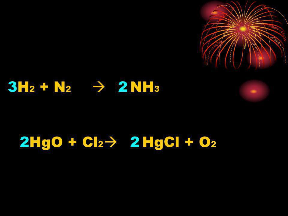 H 2 + N 2 NH 3 32 HgO + Cl 2 HgCl + O 2 22