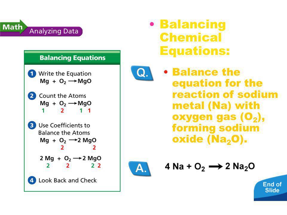 Balancing Chemical Equations Balancing Chemical Equations: Balance the equation for the reaction of sodium metal (Na) with oxygen gas (O 2 ), forming