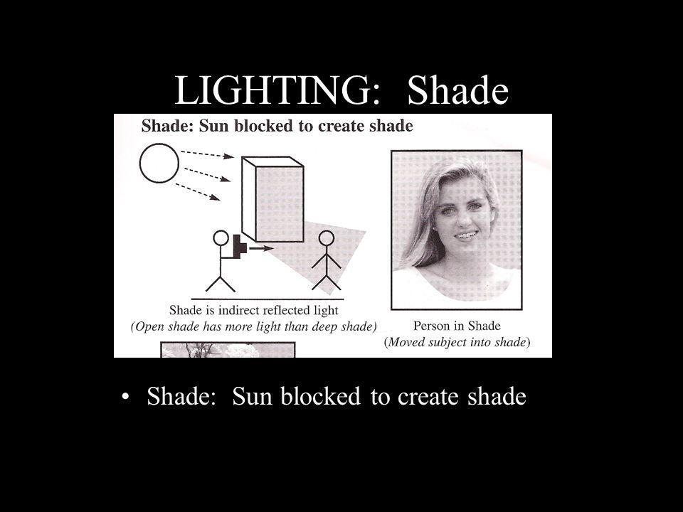 LIGHTING: Shade Shade: Sun blocked to create shade