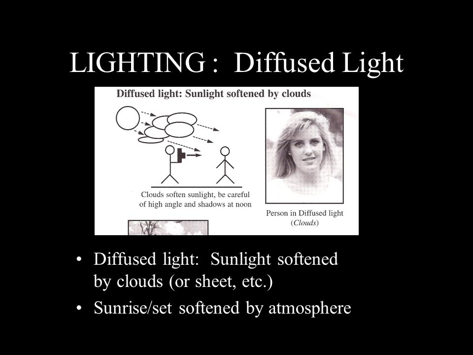 LIGHTING: Diffused Light Diffused light: Sunlight softened by clouds (or sheet, etc.) Sunrise/set softened by atmosphere