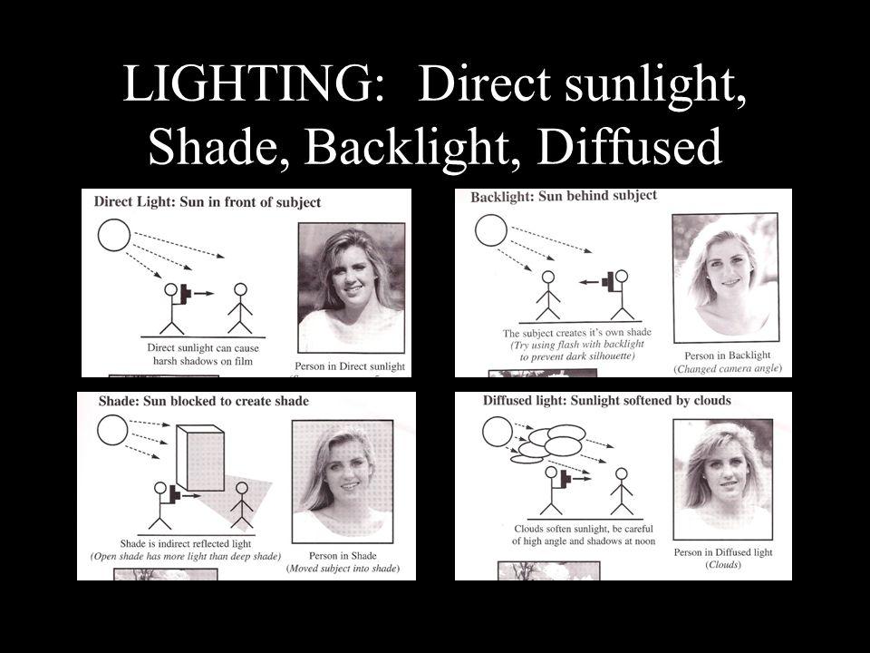 LIGHTING: Direct sunlight, Shade, Backlight, Diffused
