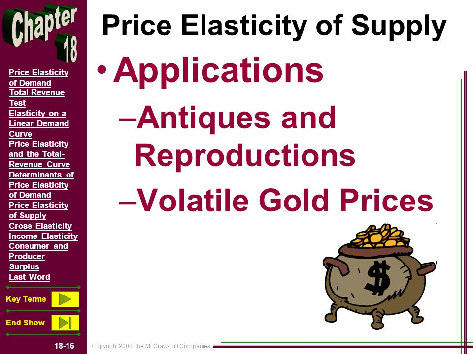Copyright 2008 The McGraw-Hill Companies 18-16 Price Elasticity of Demand Total Revenue Test Elasticity on a Linear Demand Curve Price Elasticity and the Total- Revenue Curve Determinants of Price Elasticity of Demand Price Elasticity of Supply Cross Elasticity Income Elasticity Consumer and Producer Surplus Last Word Key Terms End Show Price Elasticity of Supply Applications –Antiques and Reproductions –Volatile Gold Prices