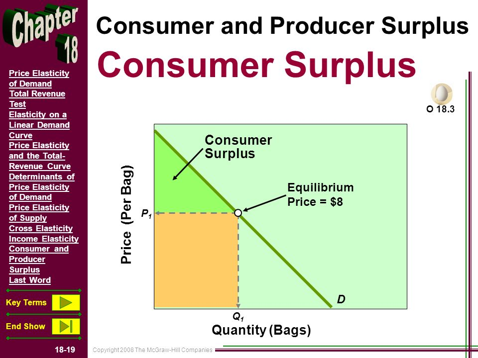 Copyright 2008 The McGraw-Hill Companies 18-19 Price Elasticity of Demand Total Revenue Test Elasticity on a Linear Demand Curve Price Elasticity and the Total- Revenue Curve Determinants of Price Elasticity of Demand Price Elasticity of Supply Cross Elasticity Income Elasticity Consumer and Producer Surplus Last Word Key Terms End Show Consumer and Producer Surplus Consumer Surplus D Price (Per Bag) P1P1 Q1Q1 Quantity (Bags) Consumer Surplus Equilibrium Price = $8 O 18.3