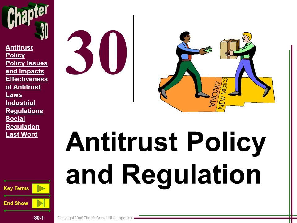 Copyright 2008 The McGraw-Hill Companies 30-1 Antitrust Policy Policy Issues and Impacts Effectiveness of Antitrust Laws Industrial Regulations Social