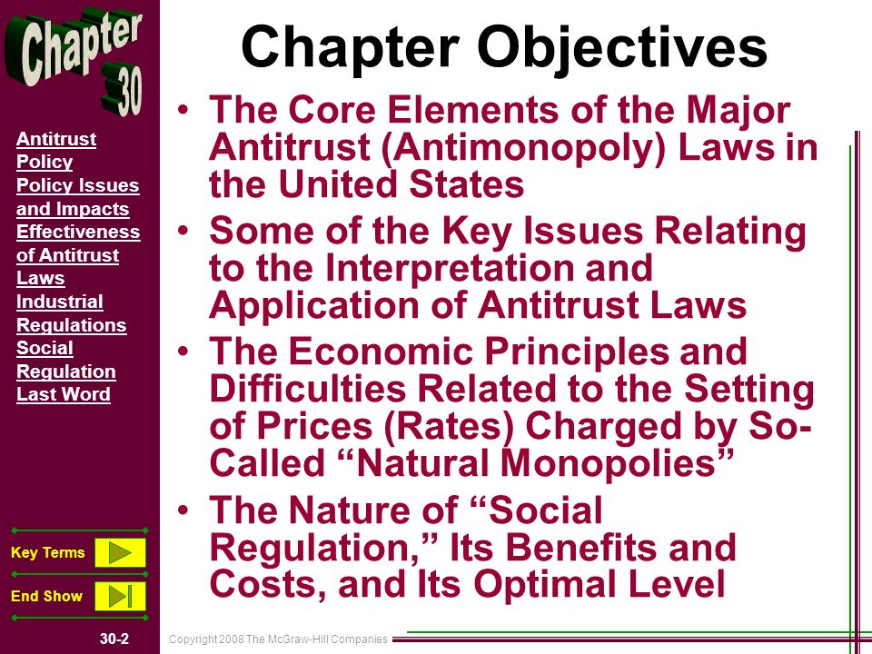 Copyright 2008 The McGraw-Hill Companies 30-2 Antitrust Policy Policy Issues and Impacts Effectiveness of Antitrust Laws Industrial Regulations Social