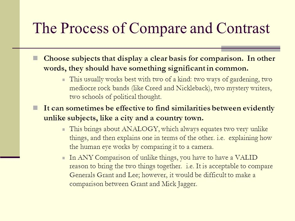 The Process of Compare and Contrast Of course identifying the shared and dissimilar features of your subjects is important; however, it wont be manageable or interesting until you limit it.