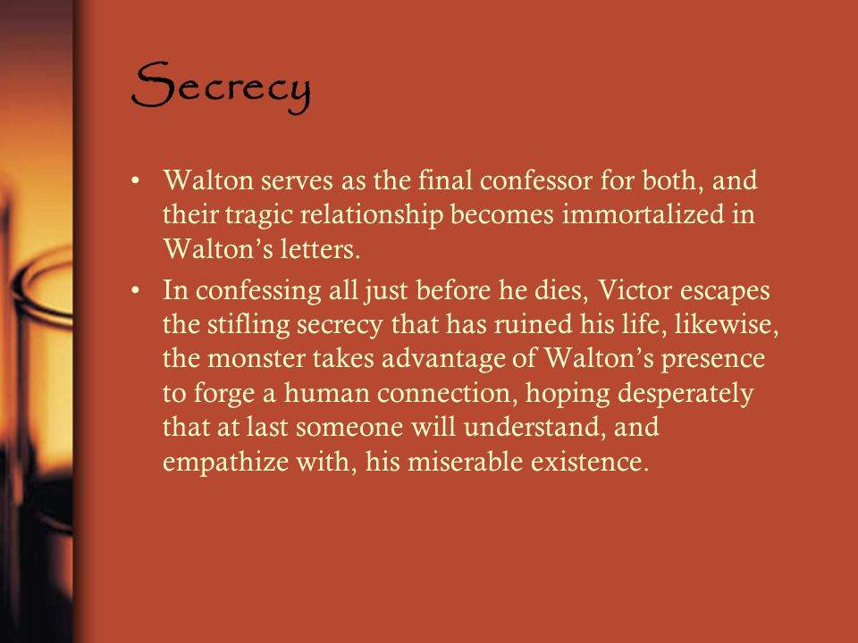 Secrecy Walton serves as the final confessor for both, and their tragic relationship becomes immortalized in Waltons letters. In confessing all just b