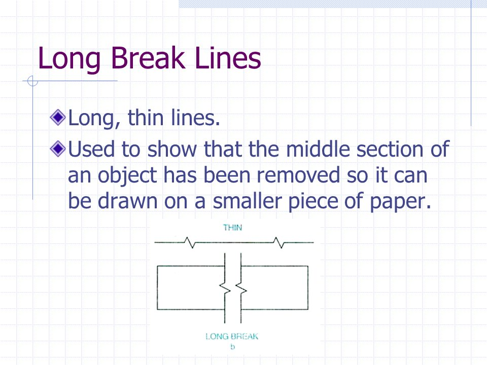 Long Break Lines Long, thin lines. Used to show that the middle section of an object has been removed so it can be drawn on a smaller piece of paper.