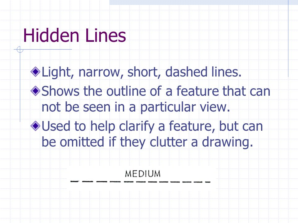 Hidden Lines Light, narrow, short, dashed lines. Shows the outline of a feature that can not be seen in a particular view. Used to help clarify a feat