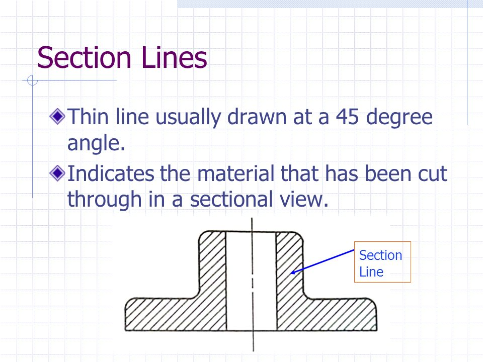 Section Lines Thin line usually drawn at a 45 degree angle. Indicates the material that has been cut through in a sectional view. Section Line