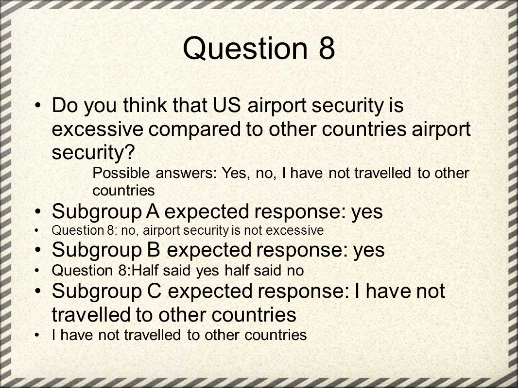 Question 8 Do you think that US airport security is excessive compared to other countries airport security.