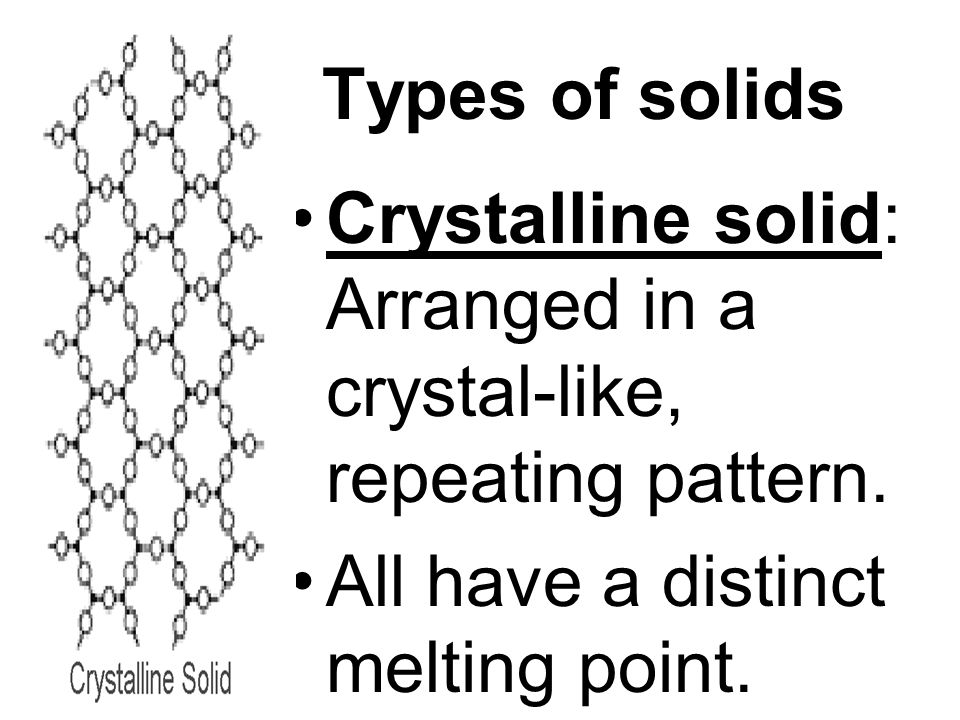 Types of solids Crystalline solid: Arranged in a crystal-like, repeating pattern.
