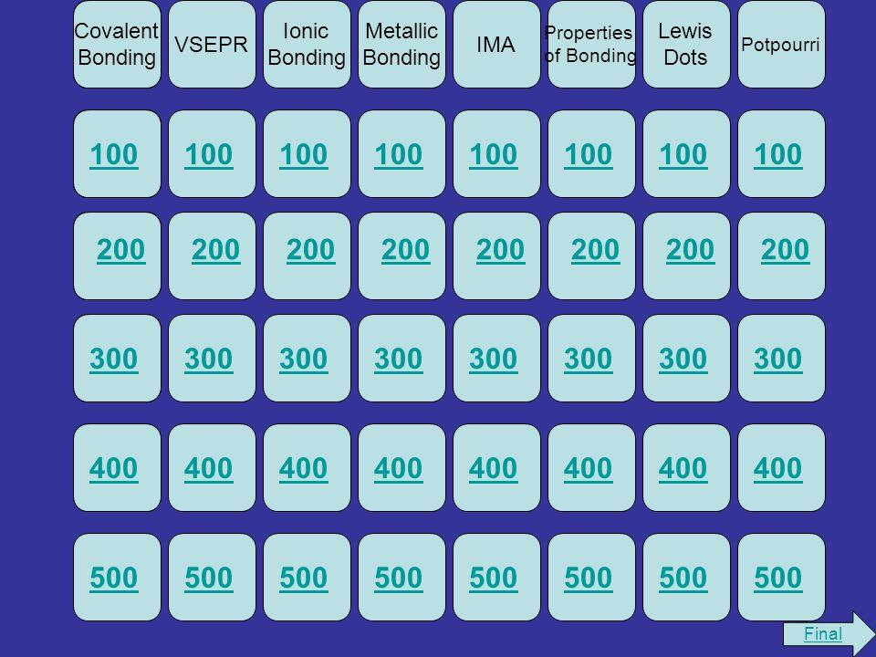 Potpourri Lewis Dots Properties of Bonding IMA Metallic Bonding Ionic Bonding Covalent Bonding VSEPR 100 200 300400500100 200 300400500100 200 300400500100 200 300400500100500 400 300 200 100 500 400 300 200 100 Covalent Bonding 100 200 Covalent Bonding 100300 200 Covalent Bonding 100400300 200 Covalent Bonding 100 Covalent Bonding Final