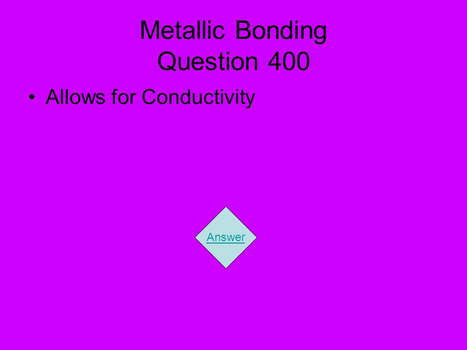 Metallic Bonding Question 400 Allows for Conductivity Answer