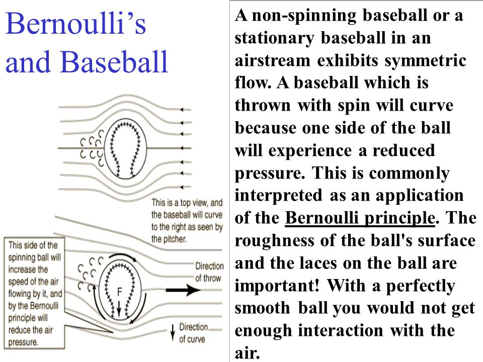 A non-spinning baseball or a stationary baseball in an airstream exhibits symmetric flow. A baseball which is thrown with spin will curve because one