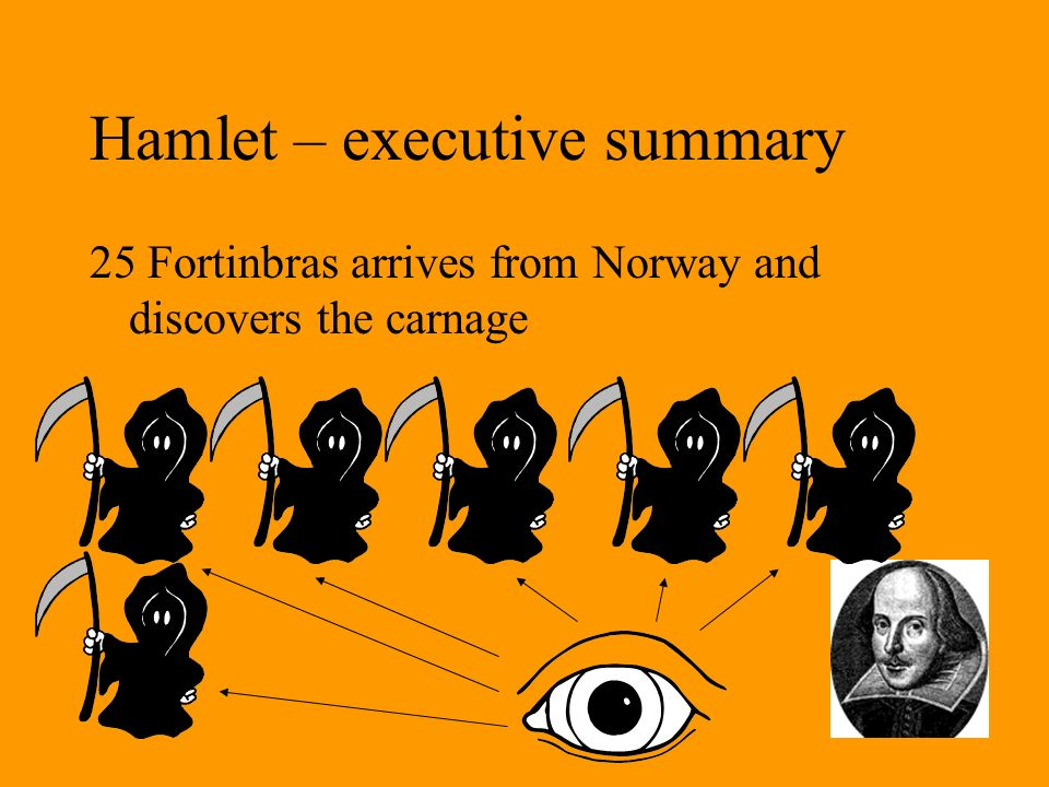Hamlet – executive summary 25 Fortinbras arrives from Norway and discovers the carnage