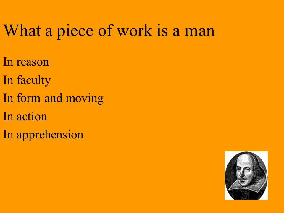 What a piece of work is a man In reason In faculty In form and moving In action In apprehension
