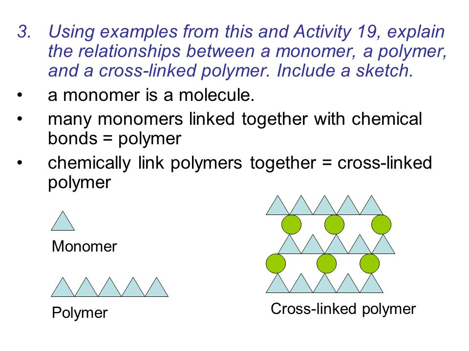 3.Using examples from this and Activity 19, explain the relationships between a monomer, a polymer, and a cross-linked polymer. Include a sketch. a mo