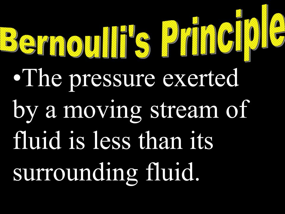 The pressure exerted by a moving stream of fluid is less than its surrounding fluid.
