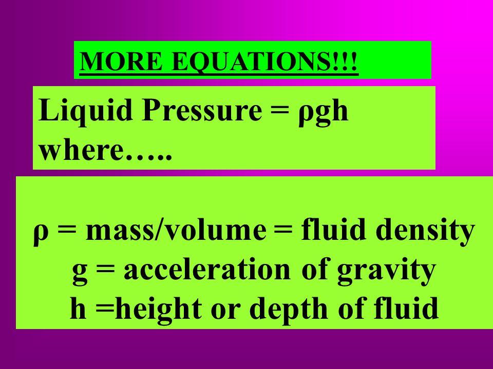 ρ = mass/volume = fluid density g = acceleration of gravity h =height or depth of fluid MORE EQUATIONS!!! Liquid Pressure = ρgh where…..