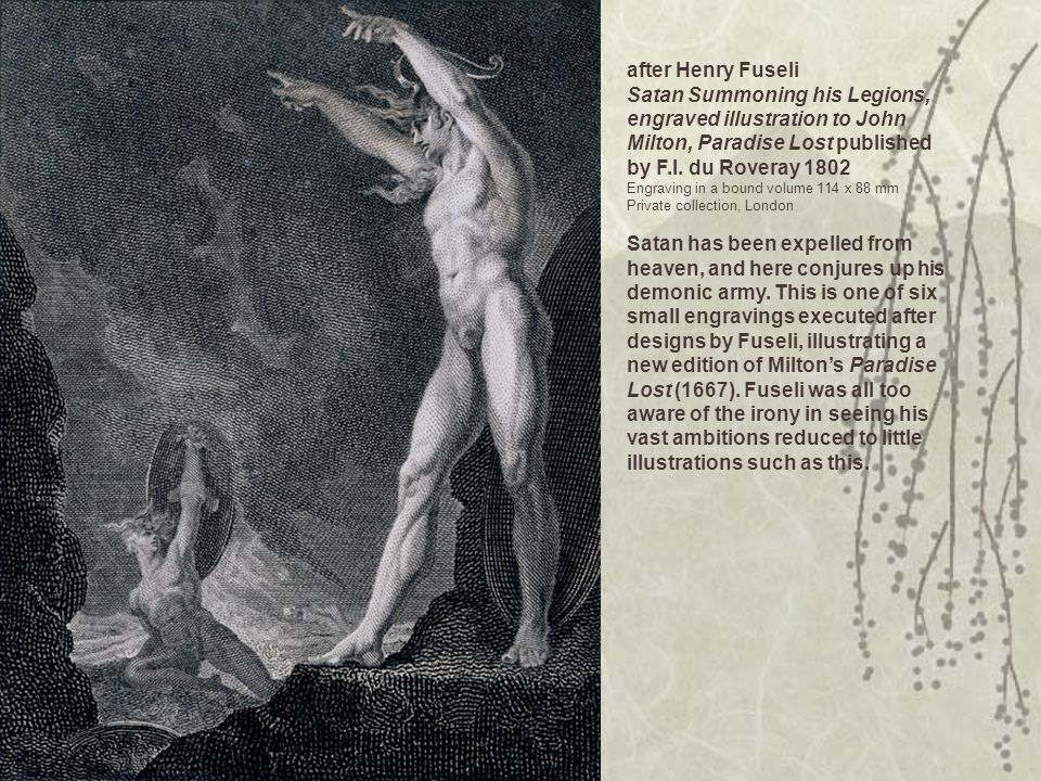 after Henry Fuseli Satan Summoning his Legions, engraved illustration to John Milton, Paradise Lost published by F.I. du Roveray 1802 Engraving in a b