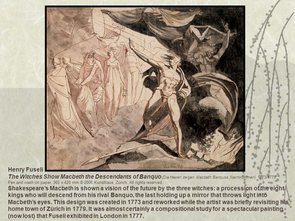 Henry Fuseli The Witches Show Macbeth the Descendants of Banquo (Die Hexen zeigen Macbeth Banquos Nachkommen) 1773/1779 Pen and wash on paper, 360 x 4