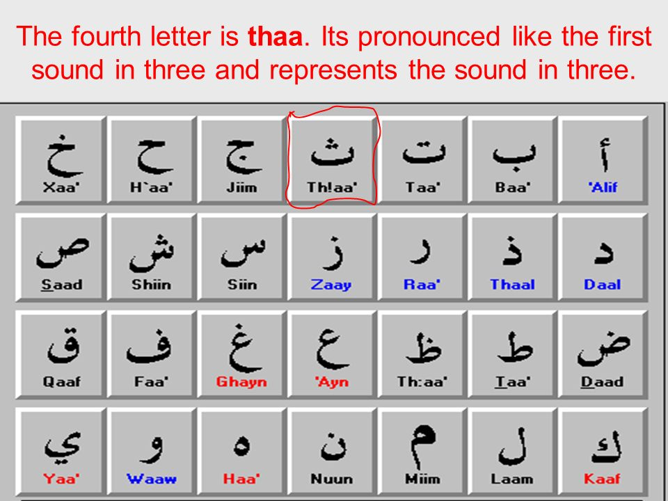 The fourth letter is thaa. Its pronounced like the first sound in three and represents the sound in three.