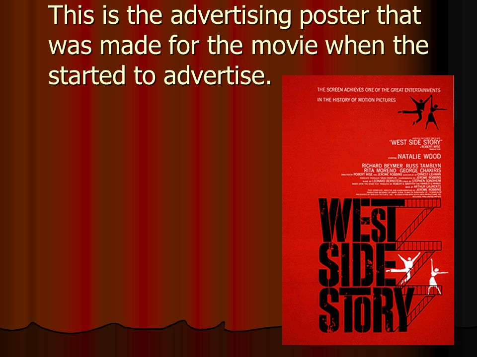 This is the advertising poster that was made for the movie when the started to advertise.