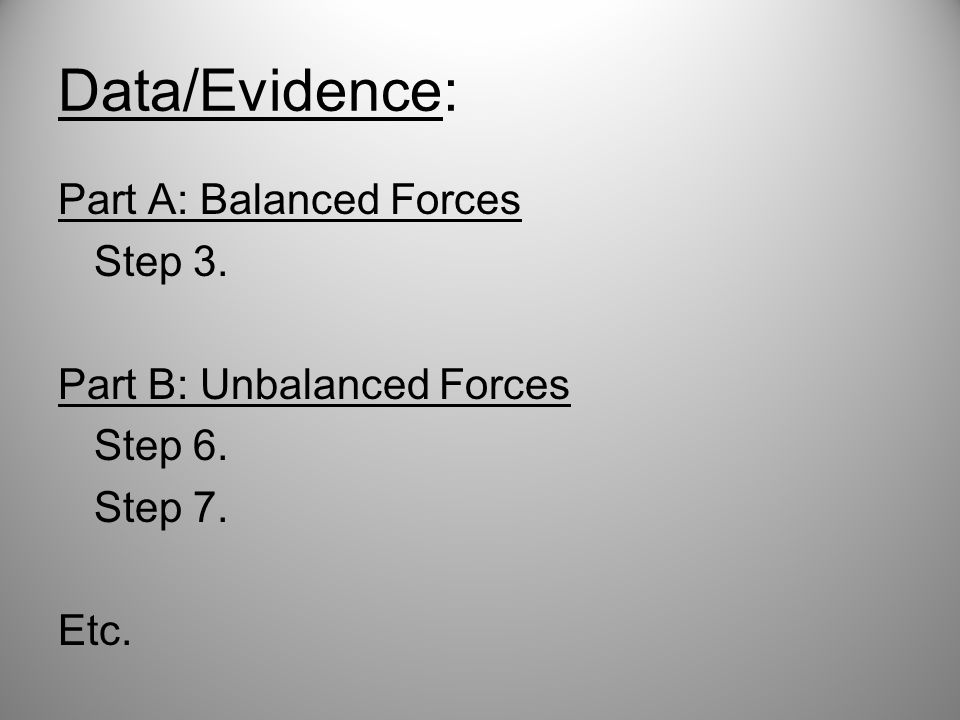 Data/Evidence: Part A: Balanced Forces Step 3. Part B: Unbalanced Forces Step 6. Step 7. Etc.