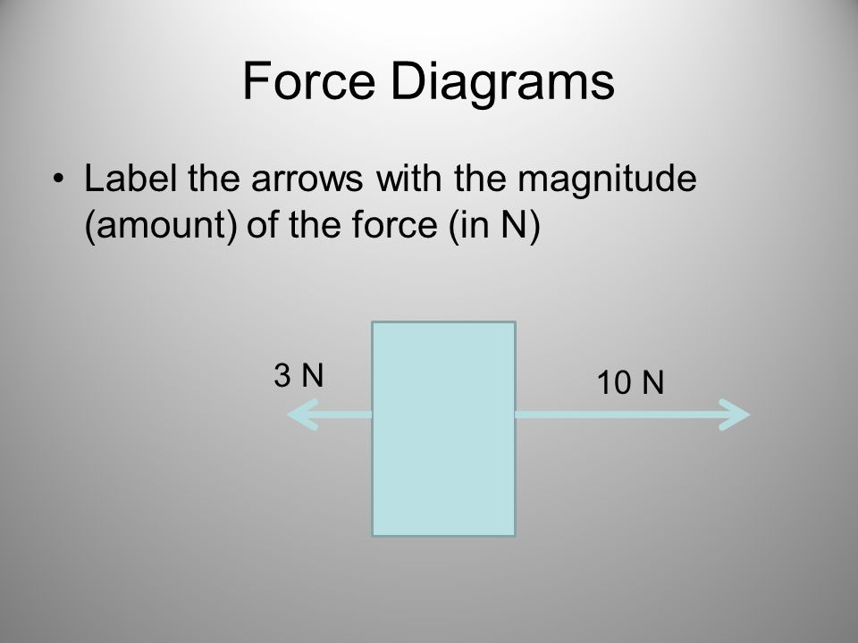 Force Diagrams Label the arrows with the magnitude (amount) of the force (in N) 10 N 3 N