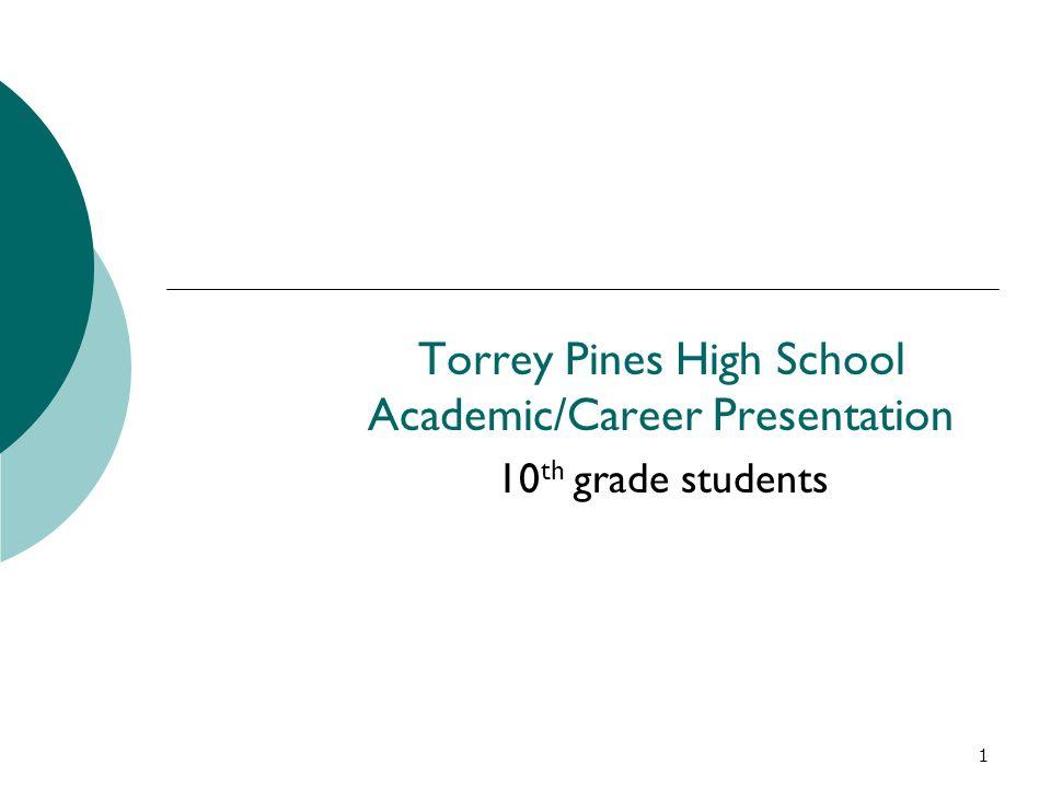 1 Torrey Pines High School Academic/Career Presentation 10 th grade students