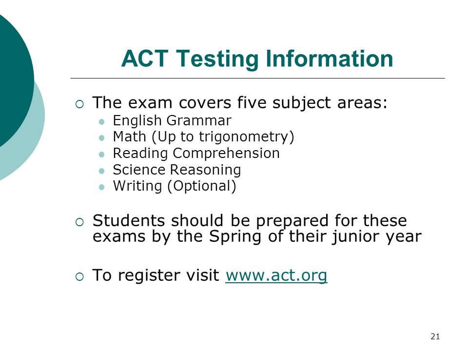 21 ACT Testing Information The exam covers five subject areas: English Grammar Math (Up to trigonometry) Reading Comprehension Science Reasoning Writi