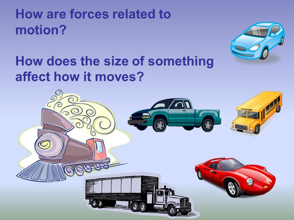How are forces related to motion How does the size of something affect how it moves