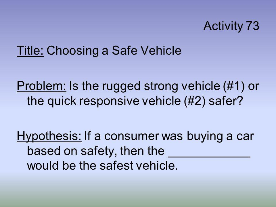 Activity 73 Title: Choosing a Safe Vehicle Problem: Is the rugged strong vehicle (#1) or the quick responsive vehicle (#2) safer? Hypothesis: If a con