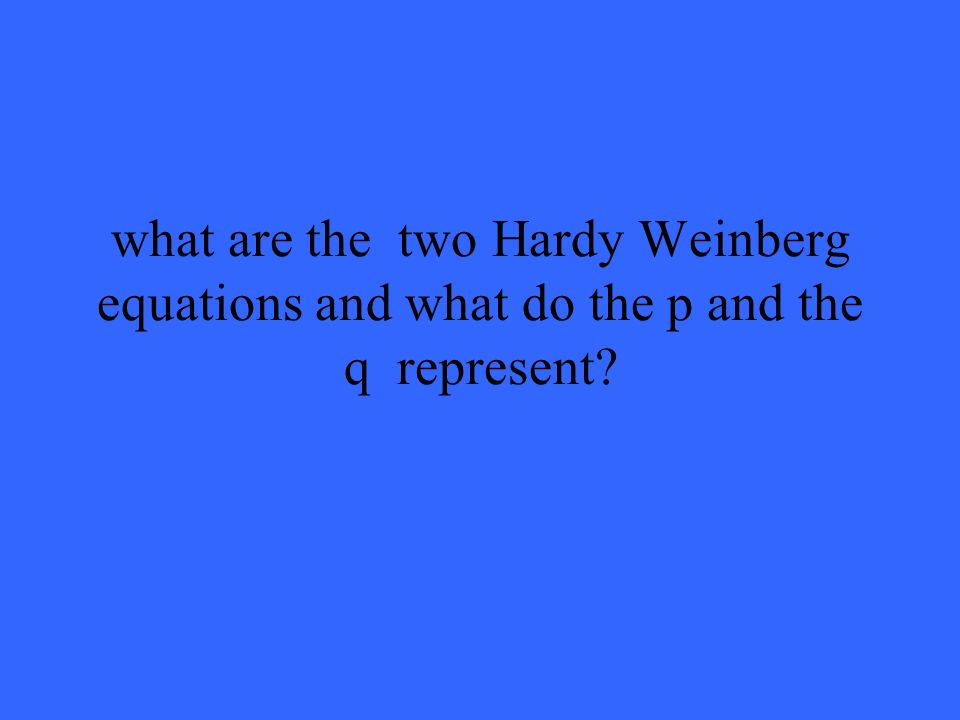 what are the two Hardy Weinberg equations and what do the p and the q represent?
