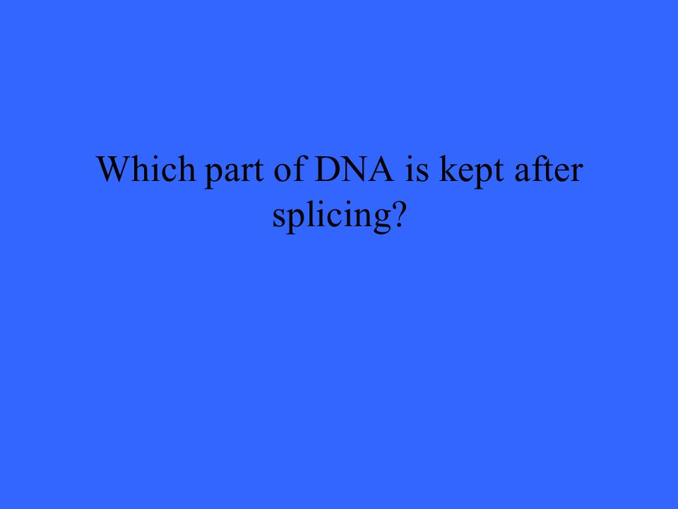 Which part of DNA is kept after splicing?